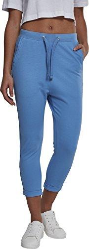 Urban Classics Damen Sporthose Ladies Open Edge Terry Turn Up Pants, Blau (Horizonblue 01301), 42 (Herstellergröße: XL)