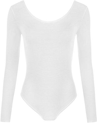 WearAll - Damen body elastisch langarm Bodysuit Top - Weiß - 36-38