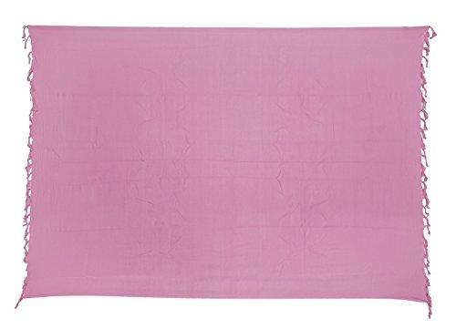Sarong ca. 170cm x 110cm Einfarbig Unifarben Handgefertigt inkl. Sarongschnalle im Fisch Design - Alle Farben zur Auswahl - Pareo Dhoti Lunghi Rosa