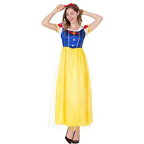 costyle Schneewittchen Prinzessin Kleid Kopfschmuck Halloween Kostüme Gelb