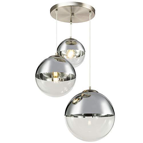 Hänge Leuchte Kugeln transparent Glas Nickel matt Chrom Wohn Zimmer Beleuchtung Lampe Globo 15851-3