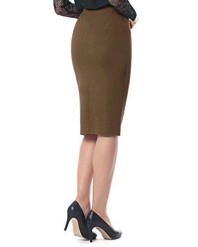 Kenancy Mujer Faldas Largas de Tubo Elegante Cintura Alta Elástico ...