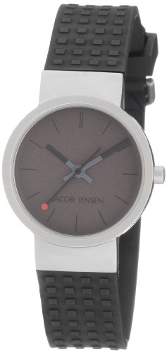 Jacob Jensen Clear Series Women's Quartz Watch with Grey Dial Analogue Display and Black Rubber Strap 421