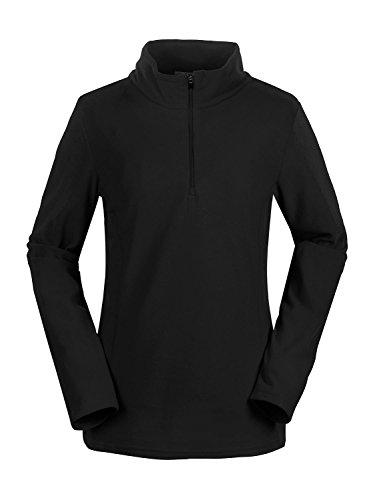 aparso Damen Fleeceshirt Fleece Pullover Skirolli Ski Fleecejacke warm pink schwarz (Schwarz, S)