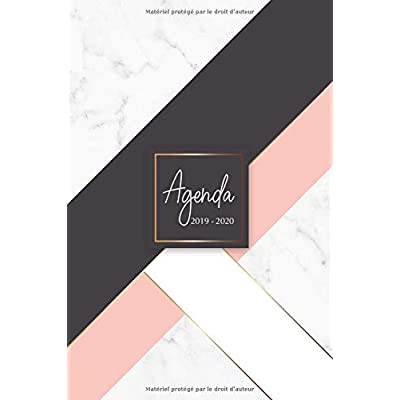 Agenda 2019-2020: Agenda Scolaire de Juillet 2019 à Juillet 2020, Semainier simple & graphique, série Marbre, motif marbre blanc, or, rose et noir