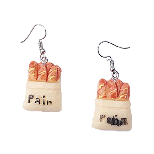 Zchenchen 1 Pair Funny Hand Made Bread Cute Tomato Earrings Cartoon Design Female Ear Hooks