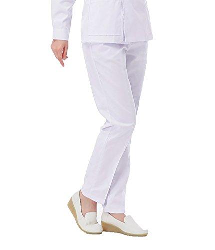 WDF Lavoro di Medico i Pantaloni Dottore l'Infermiera Pantaloni Bianco Donna Pantaloni da Lavoro Elastico Circonferenza (M, Sottile)