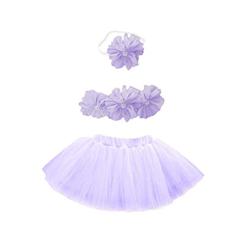 H-ONG Newborn Photography Outfits Baby Bubble Skirt Tutu Suit Photography Prop Costume 3PCS Cute Infant Princess Skirt and Headband Outfits Gift Set (Purple) -
