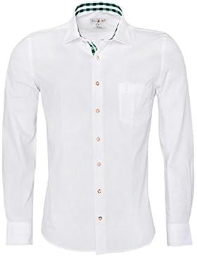 Almsach Trachtenhemd Slim Fit Zweifarbig in Weiß und Dunkelgrün