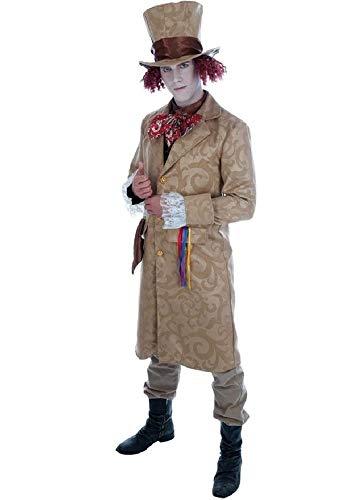 Herren Reich Dickensian Viktorianisch Verrückter Hutmacher Alice im Wunderland büchertag Kostüm Kleid Outfit M-XL - Braun, ()