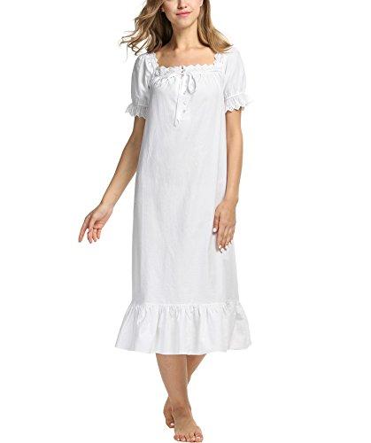 Nachtkleid Damen, Sondereu Baumwolle Kurzarm Quadrat Hals Kurz Lang ...