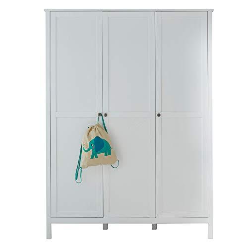 Trendteam Kleiderschrank 3 Türig, Holzdekor, Weiß, One Size