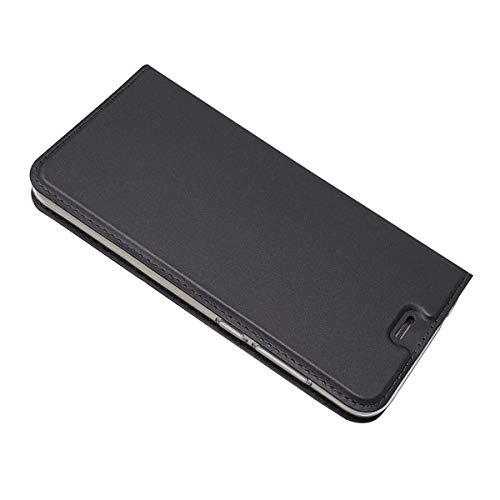 DENDICO Funda Huawei P8 Lite 2017, Slim Case de Estilo Billetera Carcasa con TPU Silicona Case para Huawei P8 Lite 2017 - Negro
