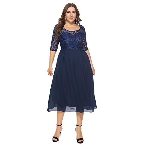 (Luckycat Frauen Feste Übergröße Vintage Floral Lace Plus Size Cocktail Formal Swing Kleider Abendkleider Schwingenkleid Partykleider Blusenkleid)