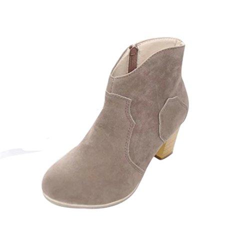 Preisvergleich Produktbild Damen Winterstiefel Schnürstiefeletten Frauen Warm Gefütterte Stiefel Schlupfstiefel Martin Schuhe Boots LMMVP (Grau, 39 EU)