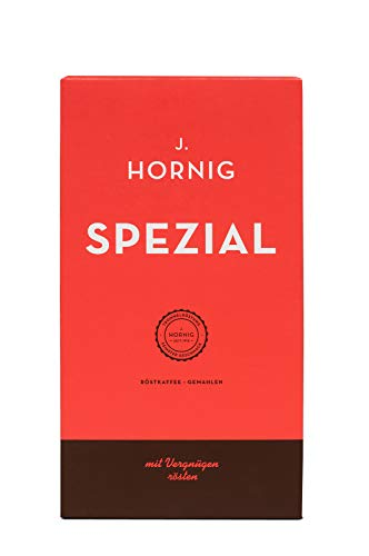 J. Hornig Kaffee gemahlen Spezial, 500g, mildes und schokoladiges Aroma, perfekt für Filterkaffee, French Press und Espressokocher