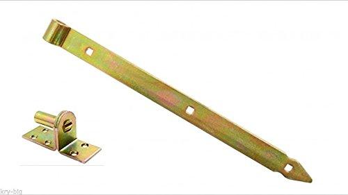 Ladenband, Türbänder, Torband, 800 x 40 x 5 mm mit 16 mm Kloben, verzinkt (Holz-tor Scharniere)
