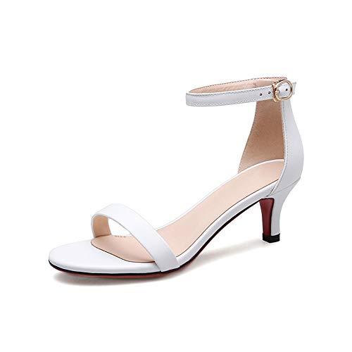 JIAYING Sandalen Riemchensandalen Damen, Sandaletten High Heels, Outdoorsandalen, mit schmalem verstellbarem Knöchelriemen, elegant und bequem, in 6 Größen (Weiß, Schwarz) -