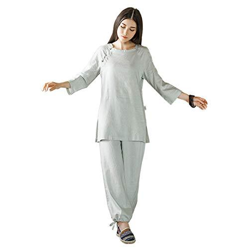 KSUA Frauen Zen Meditation Uniform Baumwolle Leinen Tai Chi Kleidung Kung Fu Kleidung, Grau EU S/Etikett M - Kung Fu Uniform