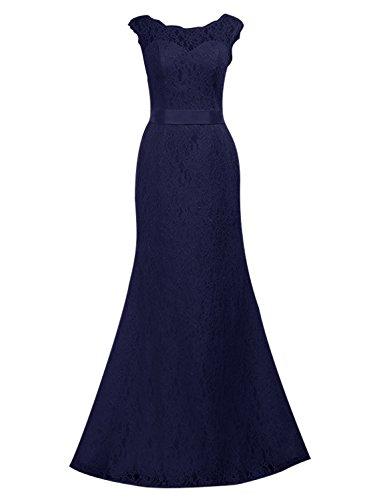 Find Dress Femme Elégant Sexy Robe de Soirée/Cocktail/Cérémonie Robe Forme Fourreau Longue sans Manches en Dentelle Marine Foncé