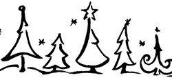 Motivstempel * Bilderstempel * Stempel * Weihnachtliche Landschaft mit Tannenbäumen * Weihnachten