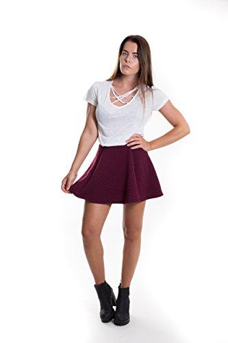 FOREVER PINK Damen Kurzarm T-Shirt V-Ausschnitt mit Schnürung Vorne Oberteil Tops Bluse Shirt Sexy Cross Top Mila WHITE WEIß