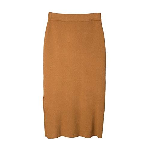 LLFUSM Winter Wear Female Casual Split Woolen gestrickter Rock gestrickter halber Rock, M, Pralinen