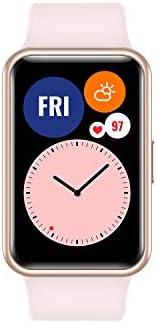 هواوي اتش دابليو - تي ايي اي - بي09 - بينك واتش فيت ساعة ذكية بهيكل معدني رفيع، شاشة موليد زاهية 1.64 بوصة، رس