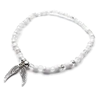 Angel Wings Charm Beaded Anklet - White Glass Seed Bead Mix with Silver Tone Charm - Size 10 inches