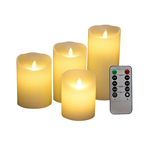 Wpond Romantisches flammenloses LED-Kerzenlicht mit 10-Tasten-Fernbedienung für Hochzeitsfeiern einzelnes Licht, Fernbedienung separat kaufen