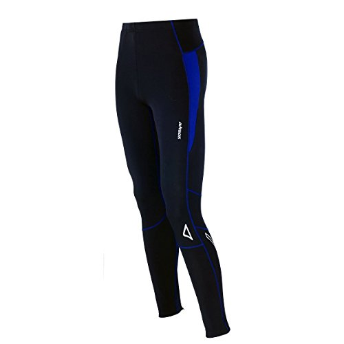 Airtracks Thermo FUNKTIONS Laufhose PRO-T/Running Tight/Thermohose/Reflektoren - LANG - schwarz-blau - L