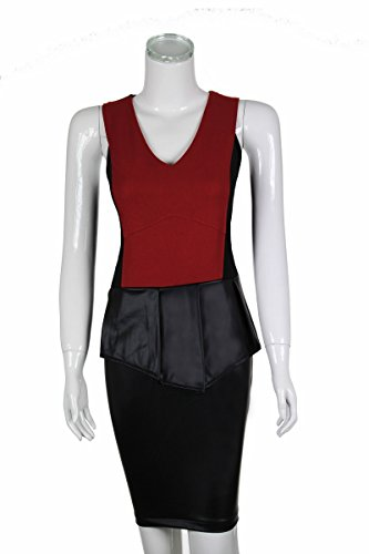 Laeticia Dreams Damen Abendkleid Etuikleid Mini Kleid mit Leder Optik Rock S M L Rot