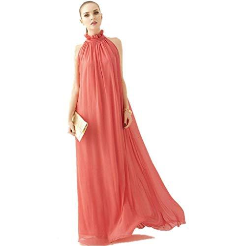 ERGEOB Damen Sommer Kleid Elegante Cocktail Party Floral Kleider Maxi ärmellosen Chiffon Abendkleid Strandkleid Wassermelone rot Floral Maxi Kleid
