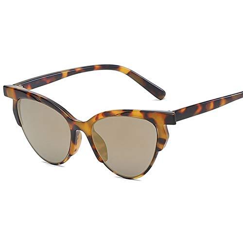 Yuanz Cat Eye Sonnenbrille Frauen Retro Sonnenbrille Half Frame Female Eyewear Vintage Damen Sonnenbrille Uv400,B