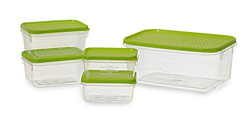 All Time Plastics Polka Container Set, 5-Pieces, Green