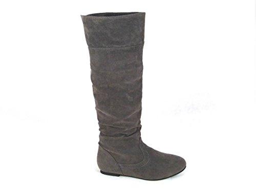 Damenstiefel mit flacher Stulpe, Overknees-Schlupfstiefel, Größe 35,5-42, - Grey Faux Suede (Mid Calf) - Größe: 40 (High Knee Boots Toe Round)