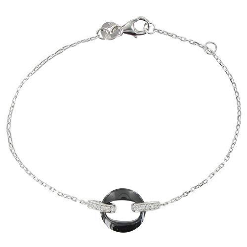 Les Poulettes Bijoux - Bracelet Argent Rhodié Petit Cercle de Céramique Noire