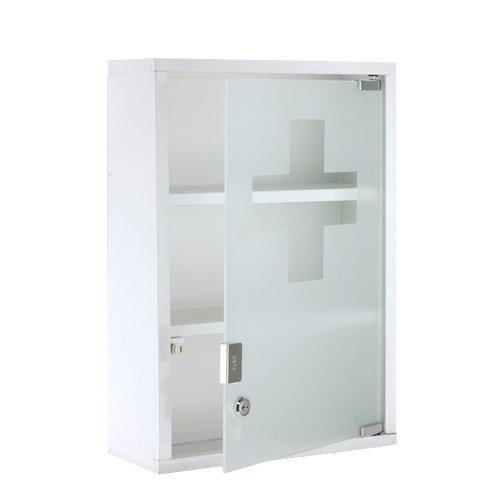 #XL Medizinschrank Arzneischrank Metall Glas Weiß#