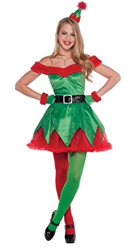 Fancy Me Damen Sexy Kleiner Weihnachtsmann Helfer Weihnachten Festlich Weihnachten Rot Grün Kostüm Kleid Outfit UK 8-16 - UK 14-16