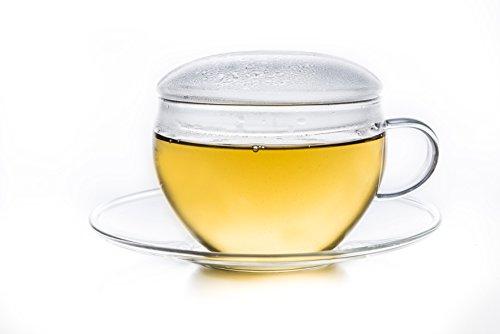 Creano Glas Tasse mit Untertasse & Deckel, praktisch für ErblühTeelini, exqusiTea, Cappuccino, Latte Macchiato, Kaffee, 3-teilig, 200 ml