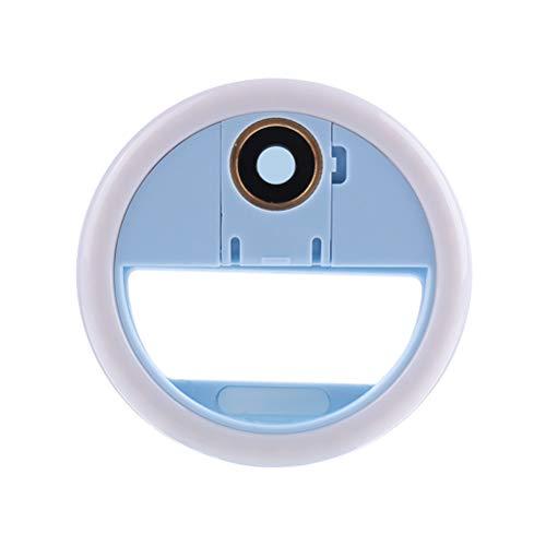 HEMOBLLO LED-Clip am Telefon Ring leuchtet Weitwinkel-Kameraobjektiv für Smartphone Laptop Kamera Fotografie (blau)