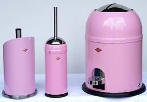 Wesco ensemble d'accessoires de salle de bain avec 1 brosse wC, 1 poubelle single master et 1 porte-papier toilettes (rose)