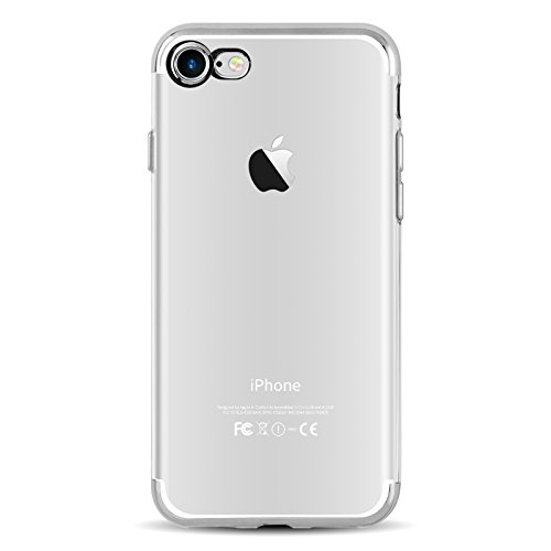 iPhone 8, iPhone 7 Silikonhülle | JAMMYLIZARD Backcover [CLARITY] Transparente Hülle aus Silikon Ultra Slim Case Cover Handyhülle mit Bumper in Metallisch Space Grau SILBER