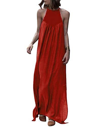 CNFIO Elegant Strandkleider Damen Maxikleider Sommer Lang Kleider Rundhals Ärmellos Streetwear Casual Ballkleider Cocktail E-Rot EU40 -