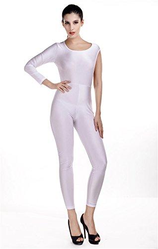 COCO clothing Damen Einfarbig Asymmetrischer Lang Arm Rückenfreie Schlankheits OverallFrauen Romper Jumpsuit mit Hosenanzug BeiläufigeOne-Piece Reizvolle Spielanzug Clubwear (L, Weiß)