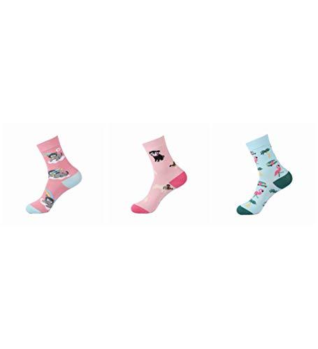 Socken Bunt,Flamingo Hund Katze Muster Neuheit Weichen Gemütlichen Bunten Frauen & Amp; Männer Socken Harajuku Streetwear Funny Cute Cartoon Einhorn Pinguin Hippo Donut Koreanisches Mädchen Kunst So