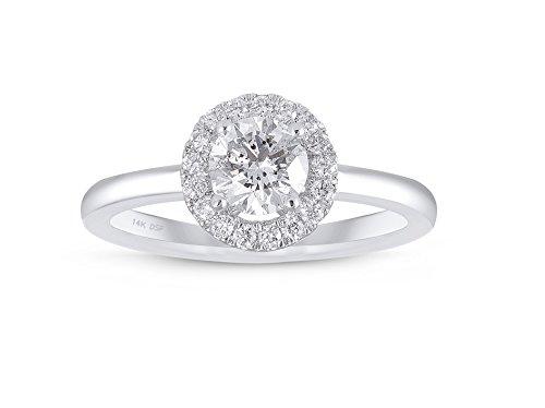 Diamond Studs Forever - Anillo compromiso halo diamantes certificado IGI 3/4K GH/I1 oro blanco 14K
