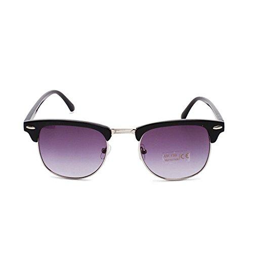 HuaYang Nouveau unisexe rétro lunettes de soleil d'aviateur verres fumés(Noir)