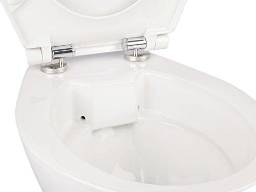 Stand-WC | Spülrandlos | Inklusive WC-Sitz | Tiefspüler | Abgang waagerecht | Weiß | Toilette | Spülrandloses WC | Klo | Toilettensitz | Stand-Wc | Design | Keramik | Modern | Hygiene - 6