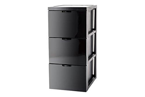 Iris SCF-303 Style Chest Flat Design Schubladenschrank/Schubladenbox/Rollwagen/Rollcontainer, mit Rollen, flach, Kunststoff, schwarz -
